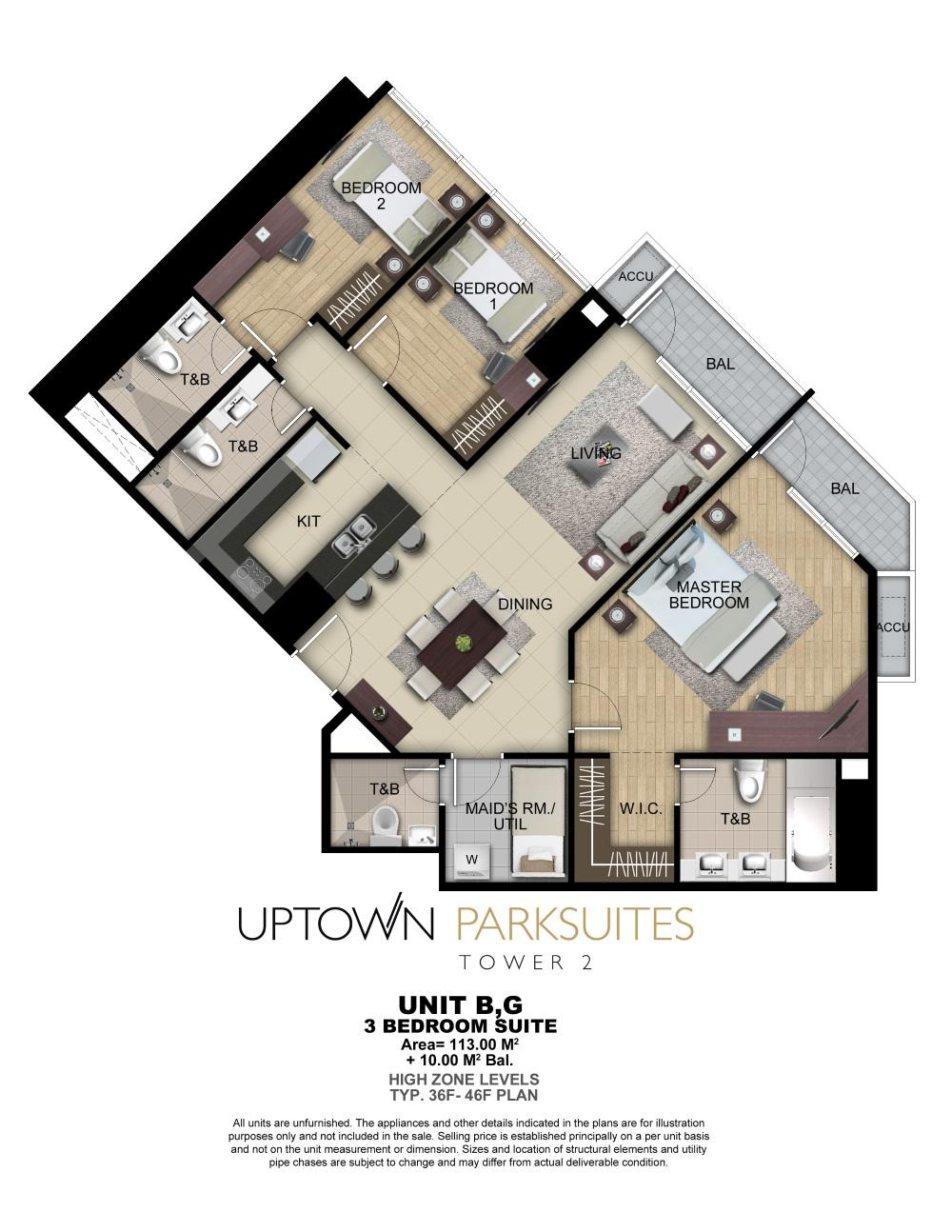 Uptown parksuites tower 2 floor plans for G plan bedroom suite