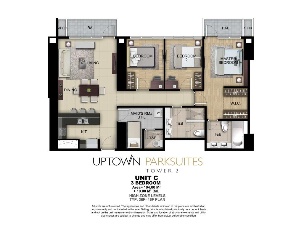 Uptown parksuites tower 2 floor plans for 3 bedroom unit floor plans