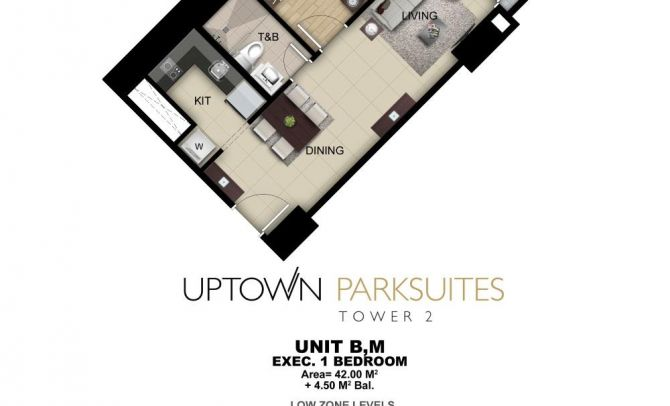 Executive One Bedroom Unit B,M