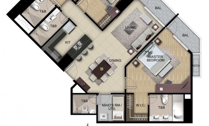 Three Bedroom Suite Unit B,G