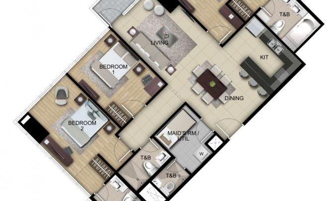 Three Bedroom Suite Unit I,L