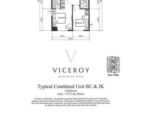 Two Bedroom Unit (Typical Combined Unit BC & JK)