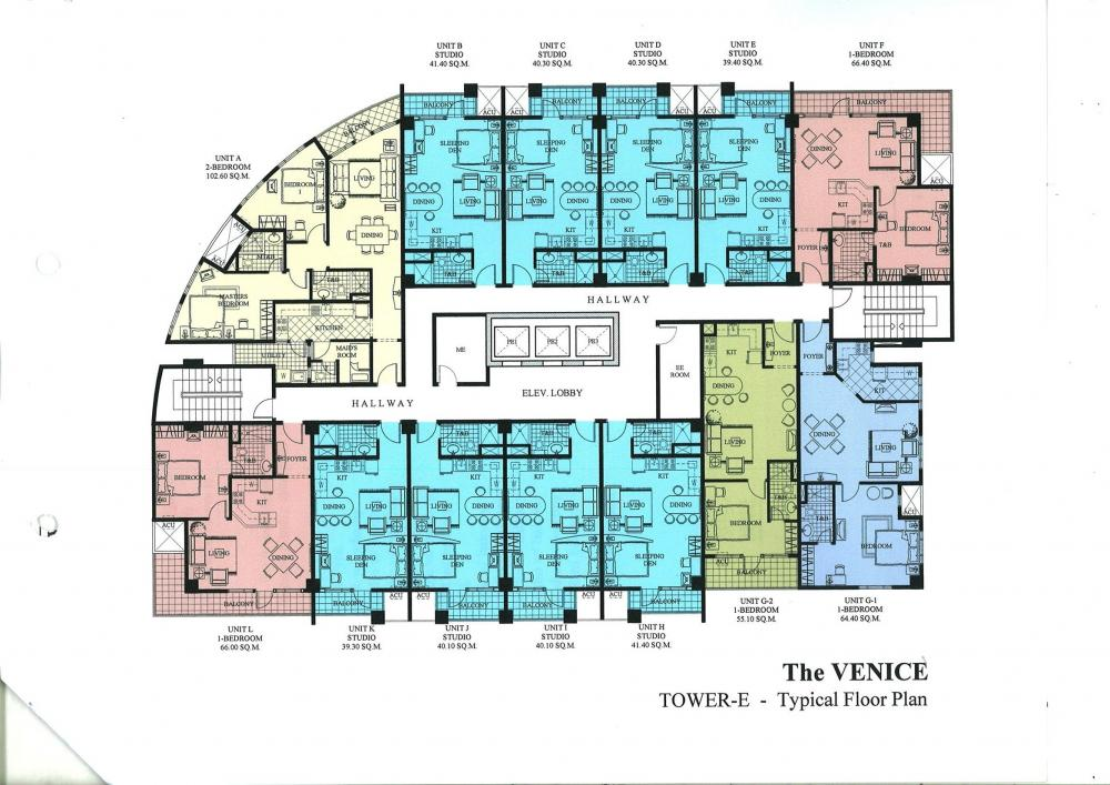 The venice luxury residences building plans for Typical office floor plan